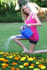 Beautiful Lady Gardening