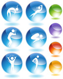 Illness Crystal Icon Set poster