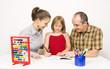 Happy family learning