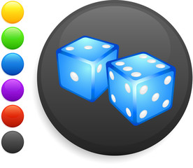dice icon on round internet button