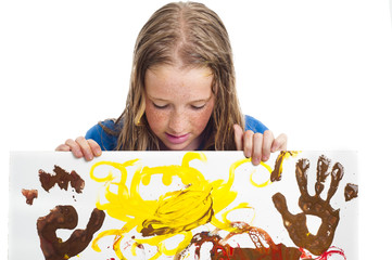 Young girl with painting