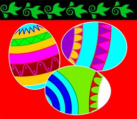 decorated eggs in red and green designed background