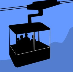 Illustration of a cable car on the top of hills
