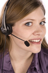 woman with headset up close