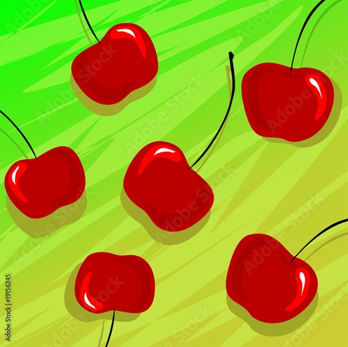 Illustration of plums with colour background