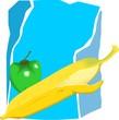 Illustration of banana and capsicum