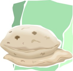 Illustration of two chapatti in a green background