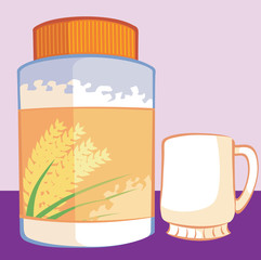 Illustration of wheat powder in a tin and a glass