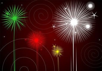 Illustration of three different colours of fireworks