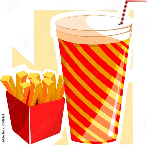 Illustration of finger chips and drinks