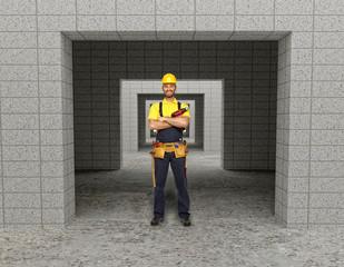 manual worker in modern building