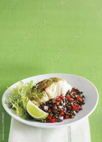 striped bass, lime butter and green lentil salad