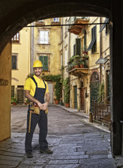 Lucca town detail and yougn handyman