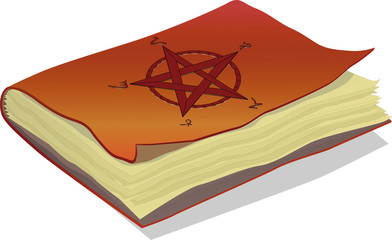 The book with symbols  pentagram