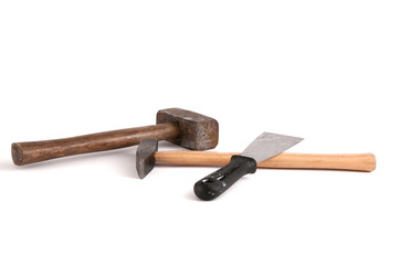 Fäustel, Hammer und Spachtel