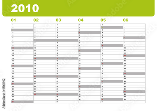 kalenderblatt 1  halbjahr 2010