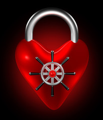 The heart symbol with safe-lock