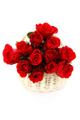 basket full of red roses