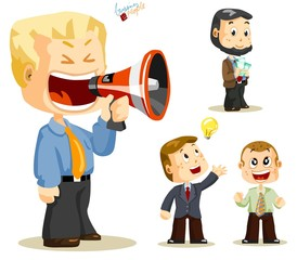 Megaphone. Set of people about Business activity in office.
