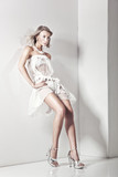 Vogue style photo of a blond beauty over white wall poster