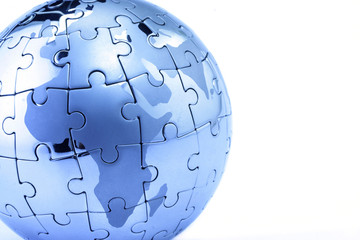 Globe puzzle showing the world
