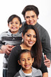 Happy family portrait with white background