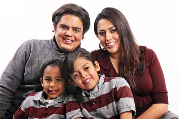 Happy hispanic family portrait