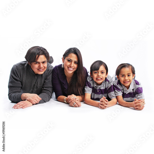 Father, Mother & Sons isolated portrait