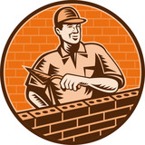 Mason worker bricklayer trowel working on brick wall poster