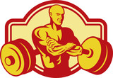 Weightlifter bodybuilder with arms crossed and weights poster