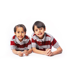 Couple brothers in red striped shirts