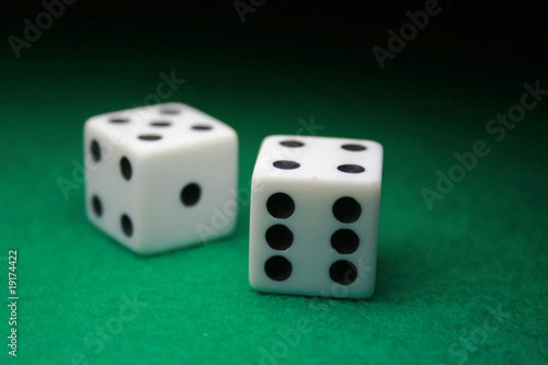 Pair of Dice over green