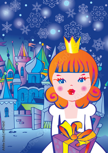 Papiers peints Chateau Beautiful princess with gift. Fairy-tale.