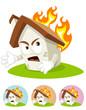 House Cartoon Mascot - on fire