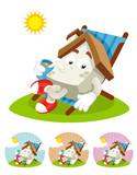 House Cartoon Mascot - sunning poster