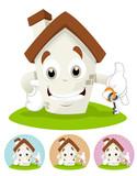 House Cartoon Mascot - holding a house key poster