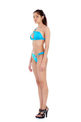 young woman in bikini, isolated on white background