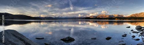 Keuken foto achterwand Nieuw Zeeland Lake Sunset Panorama in New Zealand