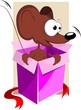 Illustration of gift box with a cartoon rat