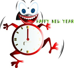Illustration of a cartoon clock dancing