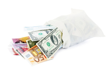 Moneybag with international currencies