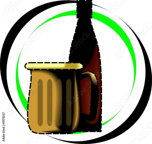 Illustration of beer bottle and beer mug