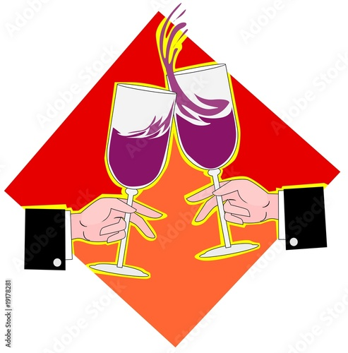 Illustration of two goblets of drinks