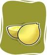 Illustration of a ripe and sliced lemon