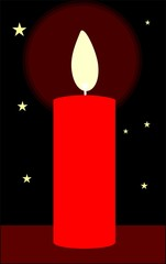Illustration of candle with stars