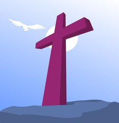 Illustration of a cross in a rock
