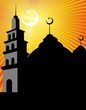 Illustrations of mosque with domes, stars and moon
