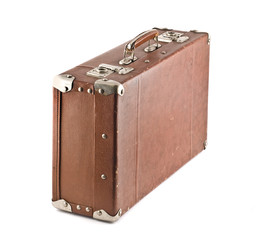 Old-fashioned scratched suitcase isolated