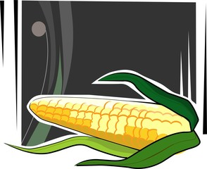 Illustration of a maize in black background