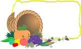 Illustration of  basket of vegetables and frame